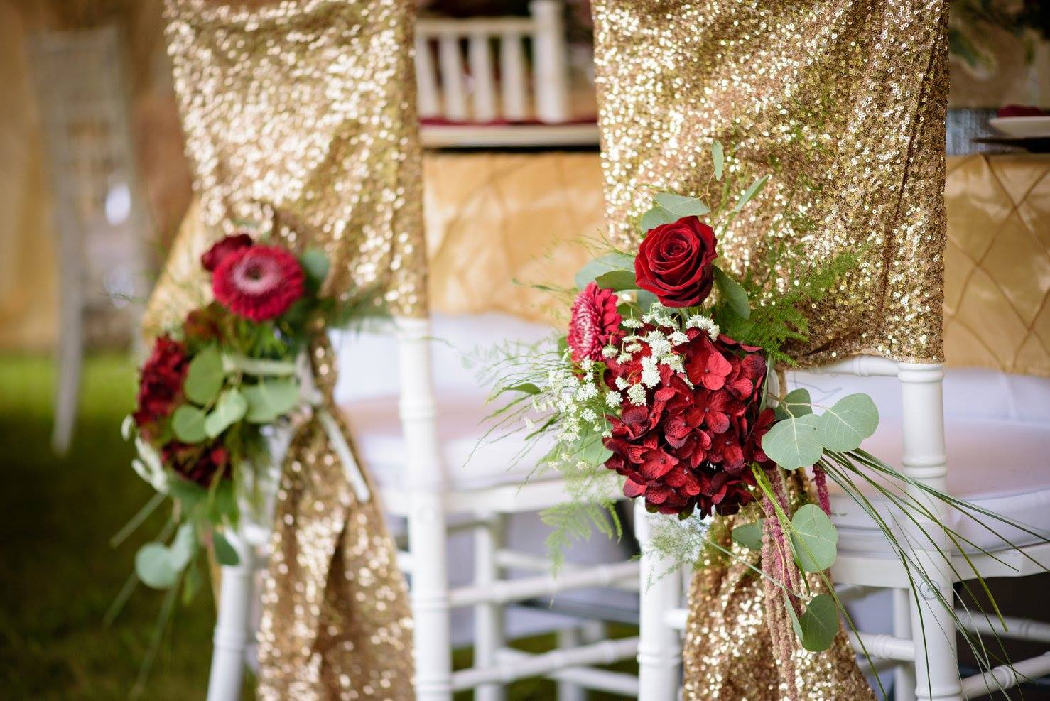 gold chair covers two